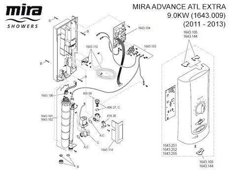 Mira Advance ATL Extra - 9.0kW (2011-2013) (1643.009) spares breakdown diagram
