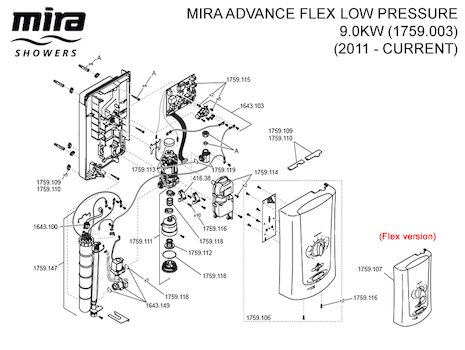 Mira Advance Flex Low Pressure - 9.0kW (2011 - current) (1.1759.003) spares breakdown diagram