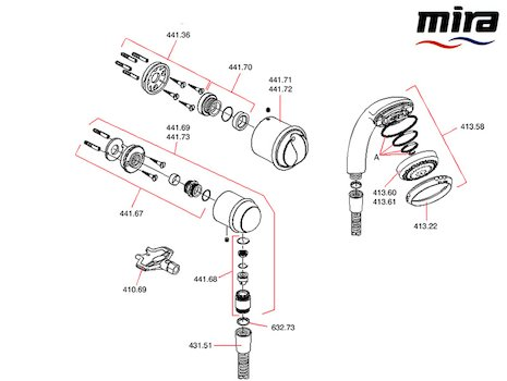 Mira Aquations BIF spares breakdown diagram