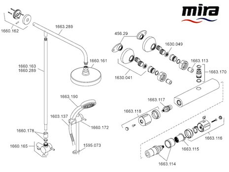 Mira Atom ERD bar mixer shower - Mk 1 - (2008-2010) spares breakdown diagram