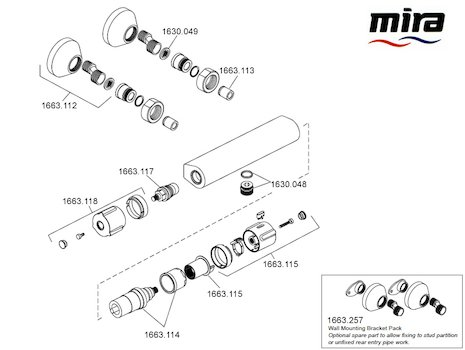 Mira Atom EV bar mixer shower - Mk 1 - (2008-2011) spares breakdown diagram