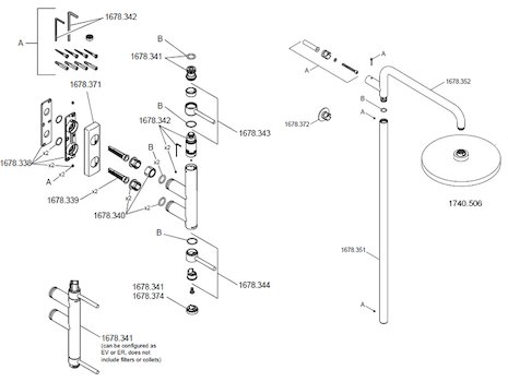 Mira Calibre ER Minimalist shower valve Chrome (1678.003) spares breakdown diagram