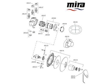 Mira Combiflow B spares breakdown diagram
