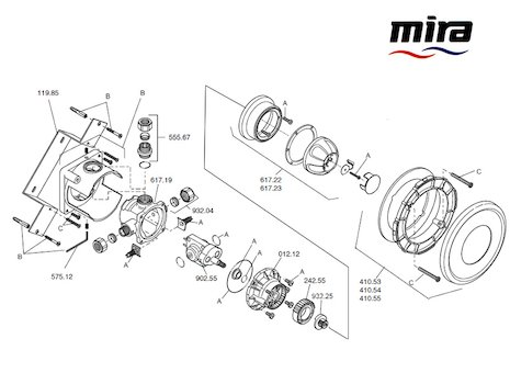 Mira Combiforce 415 BIR (1542.009) spares breakdown diagram