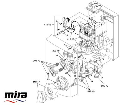 Mira Essentials Power Manual (1993-1996) spares breakdown diagram