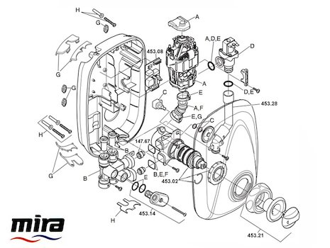 Mira Essentials Power Manual (2003-2007) spares breakdown diagram