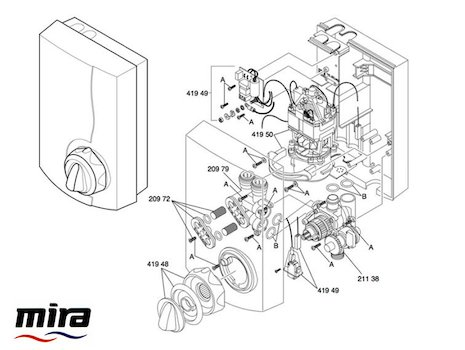 Mira Essentials Power Thermostatic (1993-1996) spares breakdown diagram
