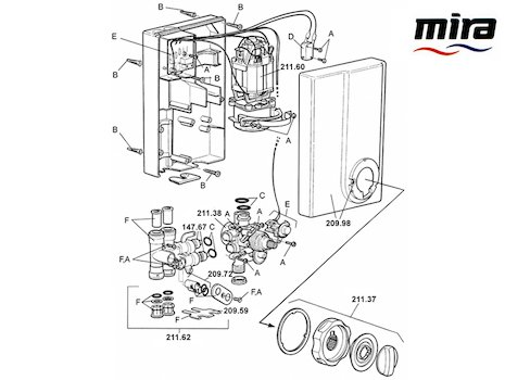 Mira Event Thermostatic (1993-1996) spares breakdown diagram