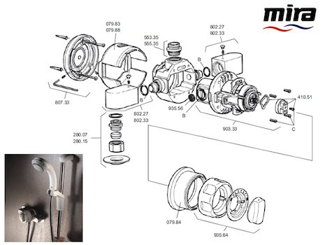 Mira Excel (1990-1996) (Excel) shower spares breakdown diagram