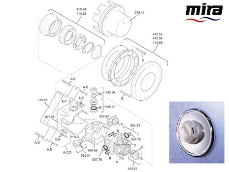 Mira Excel B (1996-2003) spares breakdown diagram