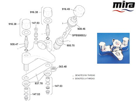 Mira Extra (1993-1999) spares breakdown diagram