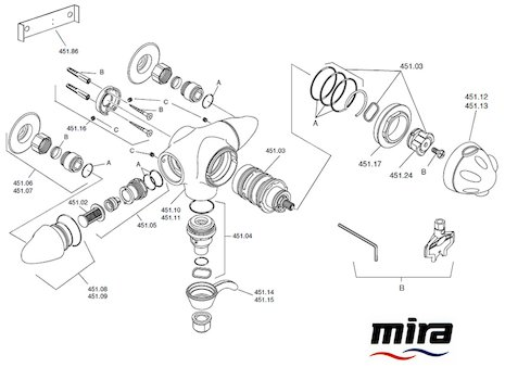 Mira Fino Exposed (2002-2009) spares breakdown diagram
