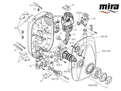 Mira Go Manual power shower spares spares breakdown diagram