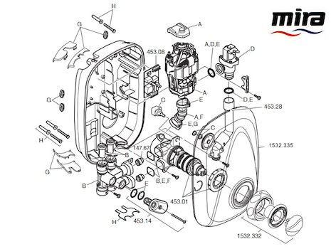 Mira Go thermostatic power shower spares spares breakdown diagram