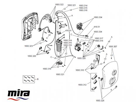 Mira Jump Electric Shower 9.5kW - white/chrome (1693.002) spares breakdown diagram