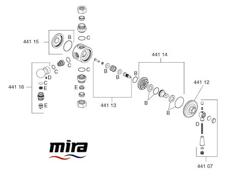 Mira Montpellier Diverter spares breakdown diagram