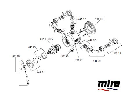 Mira Montpellier Valve spares breakdown diagram