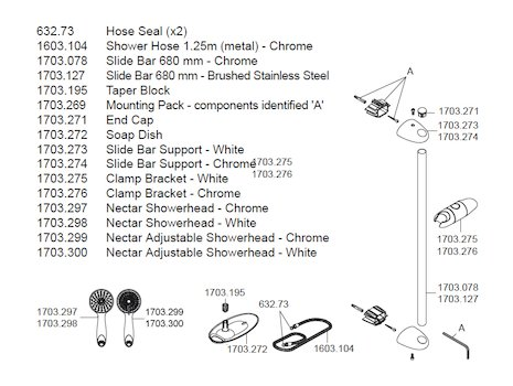 Mira Nectar slide rail kit - chrome (2.1703.008) spares breakdown diagram