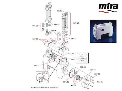 Mira PPT3 1.4 bar twin impellor positive head spares breakdown diagram