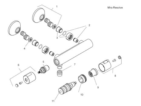 Mira Resolve Thermostatic Bar Mixer Shower - Chrome (1744.019) spares breakdown diagram