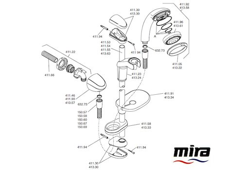 Mira Response Adjustable spares breakdown diagram