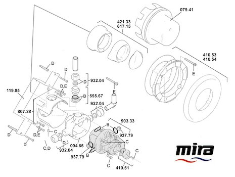 Mira Select B (2001-2003) spares breakdown diagram
