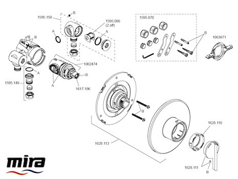 Mira Silver BIV (1.1628.002) spares breakdown diagram