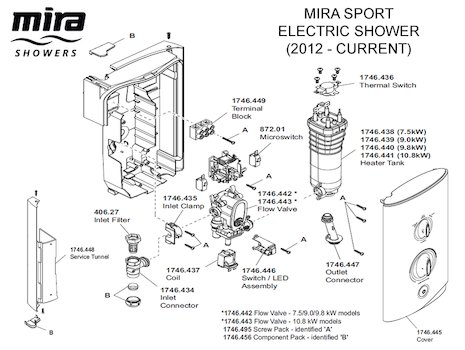 Mira Sport Electric Shower 9.0kW - White/Chrome (1.1746.002) spares breakdown diagram