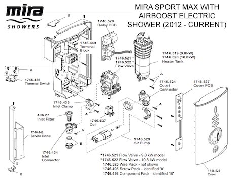 Mira Sport MAX with Airboost Electric Shower 10.8kW - White/Chrome (1.1746.008) spares breakdown diagram