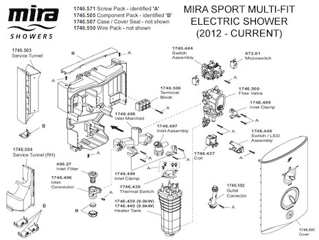 Mira Sport Multi-Fit Electric Shower 9.8kW - White/Chrome (1.1746.010) spares breakdown diagram