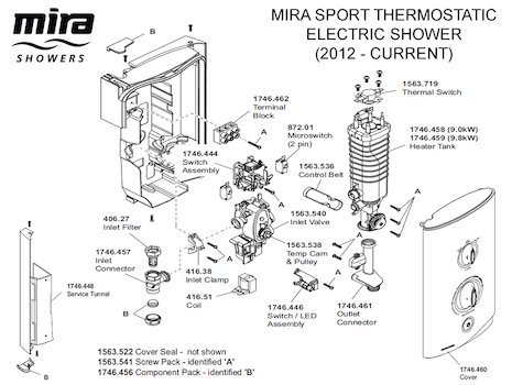 Mira Sport Thermostatic Electric Shower 9.0kW - White/Chrome (1.1746.005) spares breakdown diagram