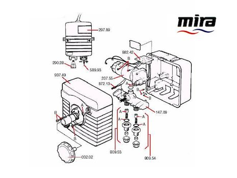 Mira Supajet spares breakdown diagram