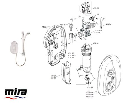 Mira Vie Electric Shower 9.5kW - White/Chrome (1539.391) spares breakdown diagram
