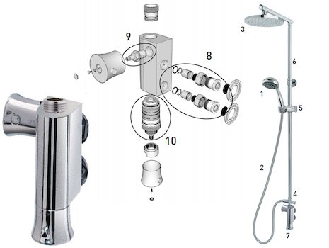 MX Atmos Shadow (HLV) shower spares breakdown diagram