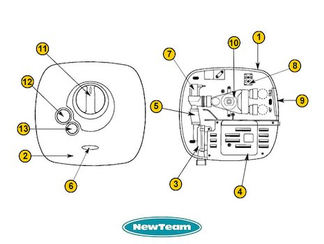 Newteam 1500-XT (1500XT) shower spares breakdown diagram