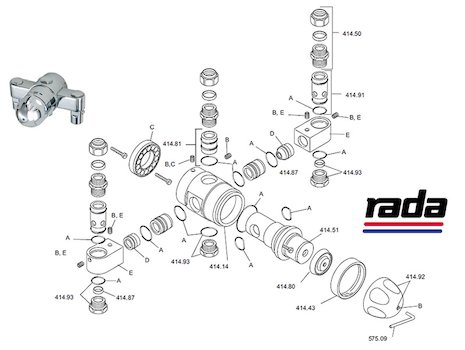 Rada 320C Group blending valve multi outlet (414.01) shower spares breakdown diagram
