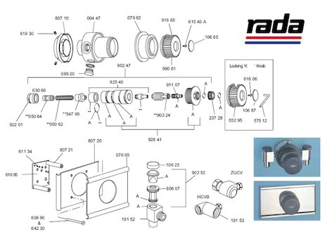 Rada 17 shower spares breakdown diagram