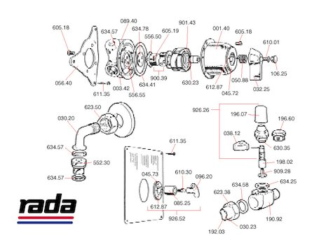 Rada 4M (4M) shower spares breakdown diagram
