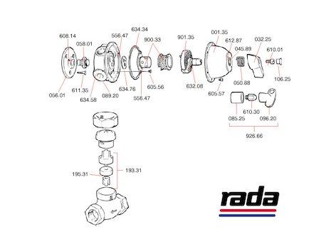 Rada 53/1 (53/1) shower spares breakdown diagram