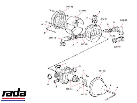 Rada UBX (UBX) shower spares breakdown diagram