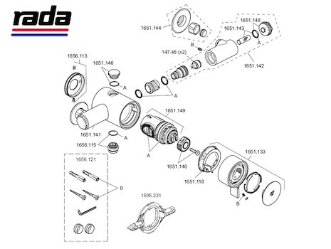 Rada V12 - Exposed (1.1651.001) shower spares breakdown diagram
