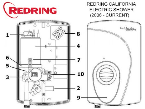 Redring California Electric Shower (2006 - Current) (53553540) spares breakdown diagram