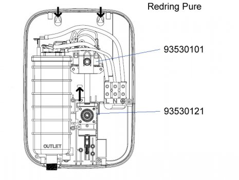 Redring Pure electric shower 8.5KW (53531301) spares breakdown diagram