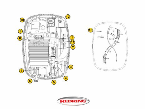 Redring Selectronic Variant (Selectronic) shower spares breakdown diagram