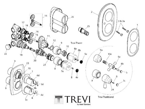 Trevi Therm MK2 Built-in A3000 (Therm A3000) spares breakdown diagram