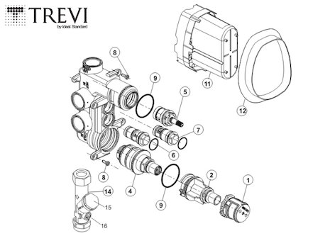 Trevi TT built in shower valve - no faceplate or handles (TT A3969NU) spares breakdown diagram