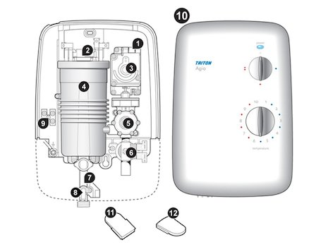 Triton Agio electric shower spares breakdown diagram