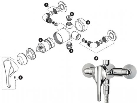Triton cadence thermostatic shower spares breakdown diagram