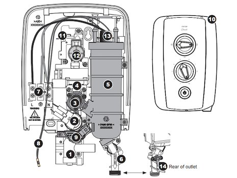 Triton Cherish electric shower spares breakdown diagram