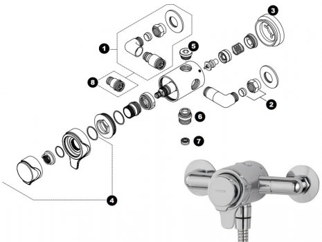 Triton Dene concentric mixer shower (UNDETHEXCM) spares breakdown diagram